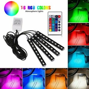 4pcs Rgb led Glow Car Interior Lamp Under Dash Footwell Seats Inside Lighting Us