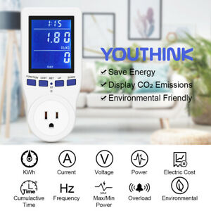 Plug Power Meter Energy Monitor Electricity Usage Volt Amps Watt Kwh Consumption