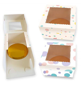 Cookeezz Couture Cake Boxes 8x8x5 Inch decorated Polka Bakery Boxes Auto Popup