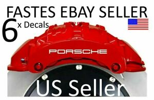 6 X Porsche Decal Set 3 Big Front 3 Small Rear Calipers Oracal Heat Res Fastes