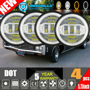 4pcs 5 75 5 3 4 Round H4 Chrome Led Headlights Fit For Dodge Charger Impala