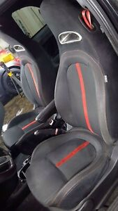 12 17 Fiat 500 Abarth Front Cloth Seat Set left right Black A5xx Red Trim
