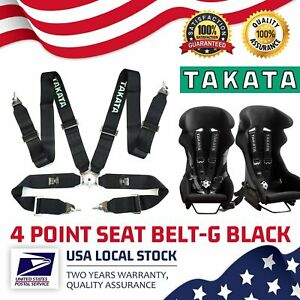 Genuine Takata 4 Point Snap on 3inch With Camlock Racing Seat Belt Harness Black