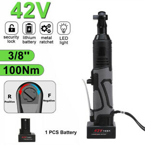3 8 42v Electric Cordless Ratchet Right Angle Led Wrench Impact Set 1 Battery