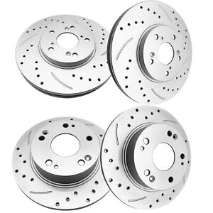 Front Rear Brake Rotors 2003 2004 Drilled For Acura Tsx Honda Accord Coupe