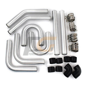 Universal Aluminum 2 5 In Intercooler Pipes Kit With Black Hose