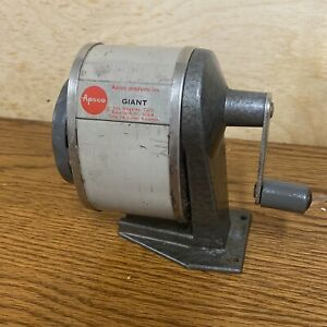 Vintage Schoolhouse Apsco Giant Pencil Sharpener Desk Or Wall Mount Type 3a