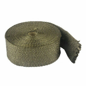 10m Exhaust Heat Wrap Roll Tape 50mm Titanium Gold With 10 Stainless Ties