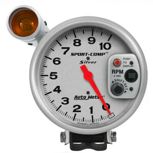 Autometer Sport Comp 5 Inch 10k Rpm Shift Light Silver Tach