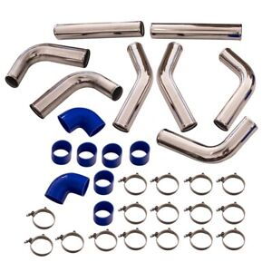 Universal 3 Turbo Intercooler Aluminum Piping Kit Blue Couplers Silicone Hose
