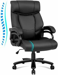 Big And Tall High Back Office Chair For 400 Lbs Ergonomic Pu Leather Memory Foam