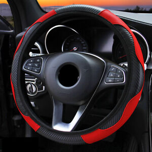 Universal Red Car Microfiber Leather Steering Wheel Cover 38cm 15 Accessories