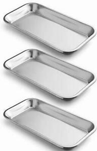 3 Pack Surgical Tray Stainless Steel Tray Lab Instrument Supplies Tattoo Tool