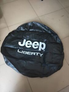 14inch Jeep Wrangler Liberty Black With White Logo Spare Tire Cover