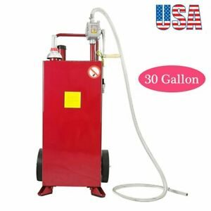 30 Gallon Fuel Transfer Gas Caddy Tank Pump Container Portable Rolling Wheel Red