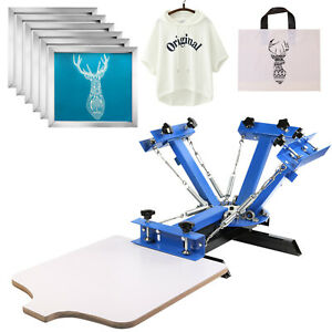 4 Color Screen Printing Machine 6pcs 160 Mesh Aluminum Silk Screens Equipment