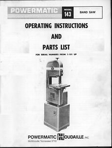 Powermatic Model 143 14in Band Saw Operating Inst Parts List Manual Pm60