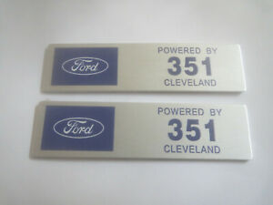 Ford Powered By 351 Cleveland 351c Mustang Torino Dash Valve Cover Plaques 2pcs