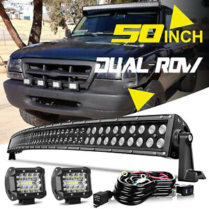 For Ford Ranger Top Roof 50 Curved Led Light Bar 4 Inch Fog Lamps W wiring Kit