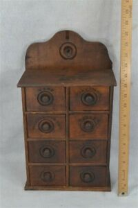 Period Old Wooden Spice Box 8 Drawer Wall Hanging Shaped Back Original 19th 1860