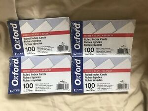 Oxford Ruled White Index Cards Lined Pack Of Four 400 Count Sealed Nib