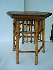 Vtg Mid Century Modern Bamboo Rattan Stool Side End Table Oak Top