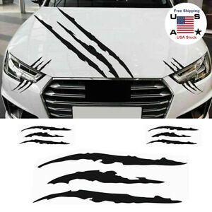 3pcs Black Monster Claw Scratch Stickers For Car Body Hood Side Fender Set