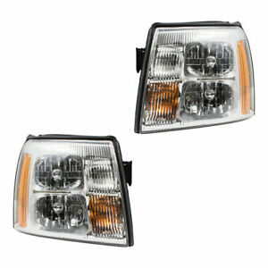 For 2002 Cadillac Escalade Ext Pickup Pair Halogen Headlamps Headlights Set