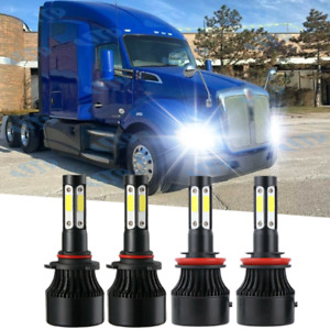 For Kenworth T680 T880 2013 2019 Led Headlight Kit Bulbs High Low Beam 4x