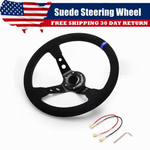 14 350mm Blue Suede Deep Dish Drifting Racing Steering Wheel 6 Bolt With Horn