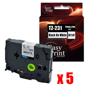 5pk Black On White Label Tz 231 With Brother Tze 231 P touch Tape 12mm X 8m