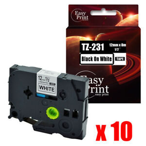 10pk Black On White Label Tz 231 With Brother Tze 231 P touch Tape 12mm X 8m