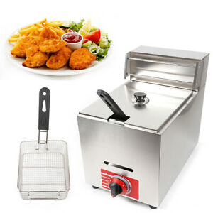 10l Commercial Countertop Deep Fryer Kitchen Gas Fryer Stainless W lid basket Us