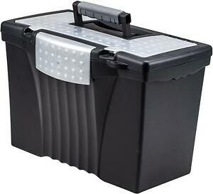 Portable File Box With Organizer Lid 17 13 X 9 63 X 11 Inches Letter legal Black