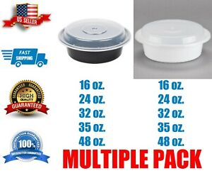 Container With Lid Multiple Sizes Black Round Microwavable Free Shipping
