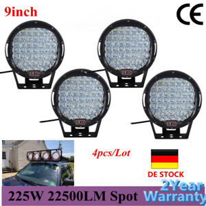 4x 9inch Black Round Led Work Light Bar Offroad 4x4 For Jeep Truck 4wd Headlight