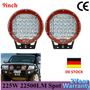 2x 9inch 225w Red Round Driving Led Work Light Bar Spotlights Headlights Offroad