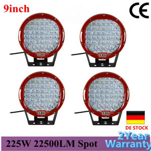 4x 9inch Red Round Led Work Light 12 24v Car Spotlights Offroad Fog For Jeep 4x4