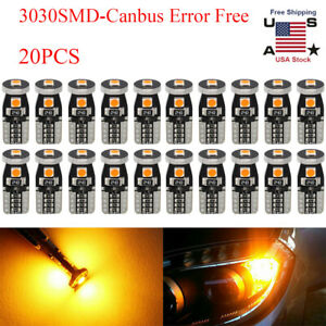 20pc T10 Led Canbus Error Free 5 Smd Car Side Wedge Light Bulb Amber 168 194 W5w