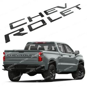 Matte Black Tailgate Chevrolet Insert Letters Abs Fit For 2019 2020 Silverado