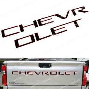Black Red Tailgate Chevrolet Insert Letters Abs Fit For 2019 2020 Silverado