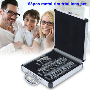 Optical Trial Lens Set Optometry Kit 68pcs Metal Rim Ophthalmic Lenses alu Case