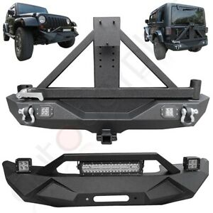 Front Rear Bumper W Spare Tire Carrier For 2007 2018 Jeep Wrangler Heavy Steel