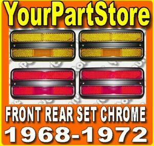 68 69 70 71 72 Chevy Gmc Pu Pickup Truck Side Marker Lights Chrome Front Rear
