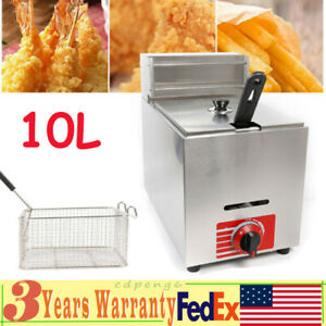 10l Commercial Deep Fryer Countertop Gas Fryer Pot Stainless Steel basket cover