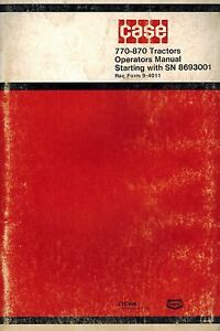 Case 770 870 Tractor Operator s Manual Starting With S n 8693001
