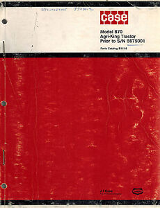 Case 870 Tractor Parts Manual B1116 Prior To S n 8675001