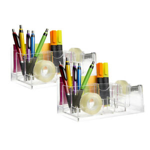 2 Acrylic Desk Organizer Tray Caddy Built in Tape Dispenser Office Supplies