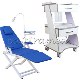 Dental Trolley Mobile Metal Tool Cart With Auto water Supply Folding Chair