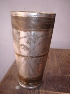 INDIA OLD BIG BRASS TUMBLER WITH HAND CRAFTED USED FOR PUNJABI LASSI $65.00